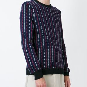 Blue and multicolour cotton woven striped jumper